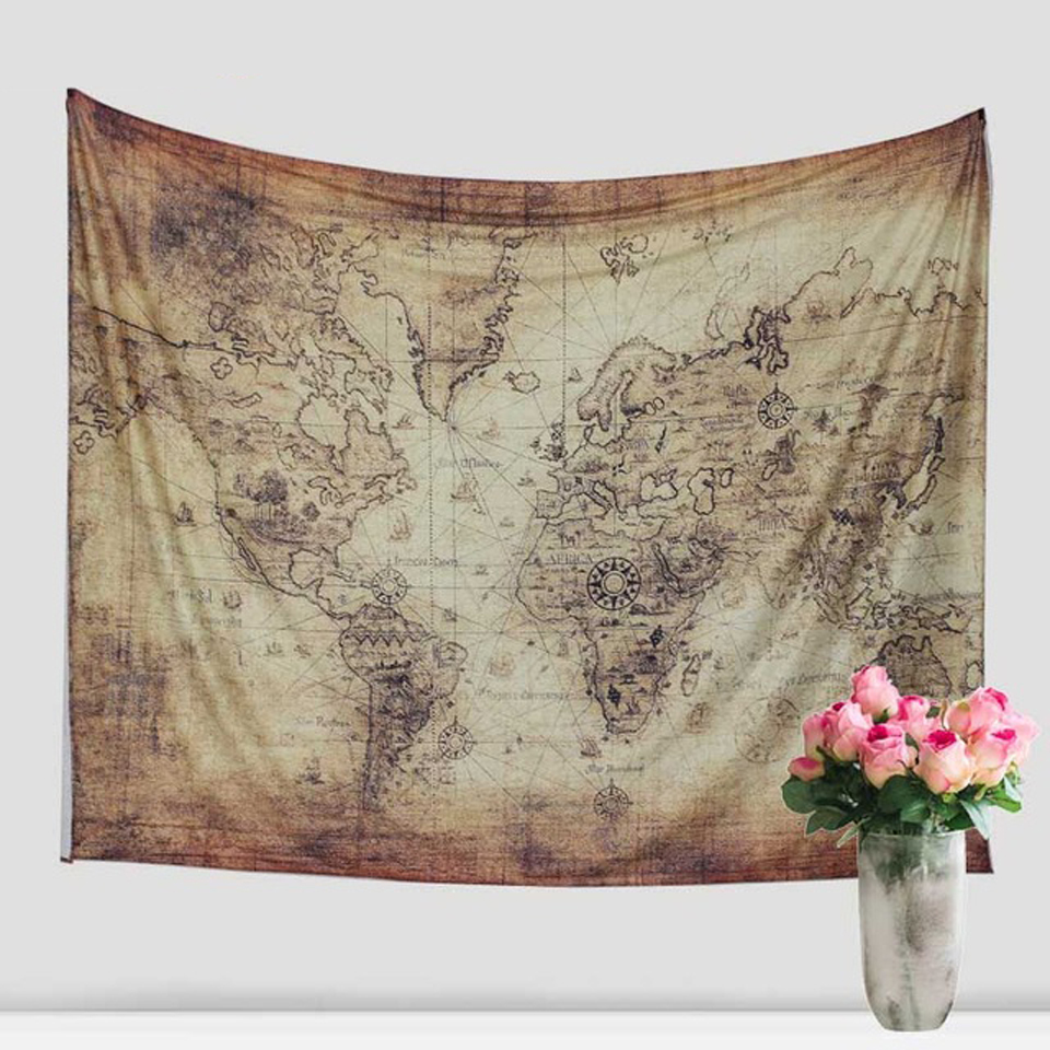 Indian Mandala Cotton World Map Tapestry Hippie Wall Hanging Tapestry Beach Towel Yoga M ...