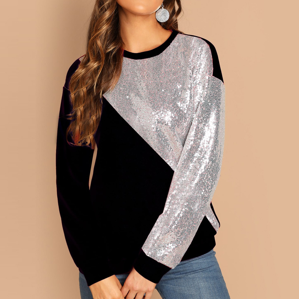 Feitong Fashion Sequins Blouse Women Blings Color Block O-Neck Patchwork  Pullover Sweatshirt Black Silver b8f8c19e4519