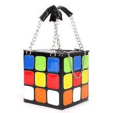 Mujeres Bolsa de cubo de Rubik 2016 Lindo Cubo Mágico Bolsa Bolso Cadena de moda Bolsos de las mujeres Bolsa de mensajero Bolsas de Bolsos De Mano