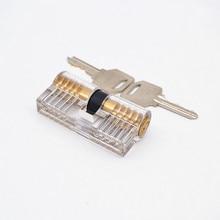 Lock Pick Set Acrylic Transparent Visible Practice Cutaway Lock with 2 Keys Padlock Tool For Locksmith Supplier 70mm