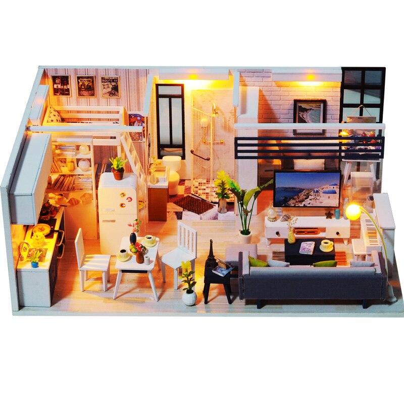 Handmade Doll House Furniture Miniatura Diy Doll Houses Miniature Dollhouse Wooden Toys For Children Grownups Birthday Gift