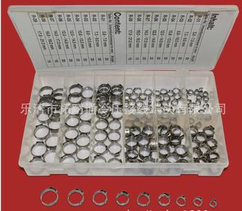 Free shipping Pipe Clamp High Quality 170 PCS Stainless Steel 304 Single Ear Hose Clamps Assortment Kit - discount item  17% OFF Hardware