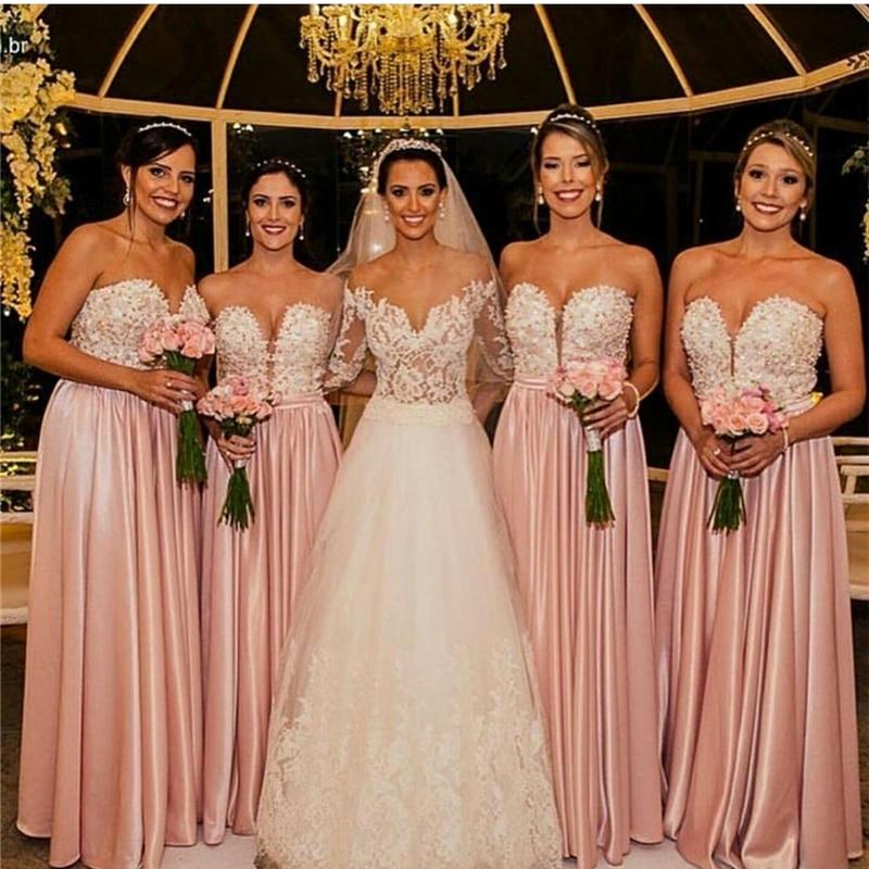 6490802498 2017 Pink Bridesmaid Dresses Satin Sweetheart Floor Length A Line ...