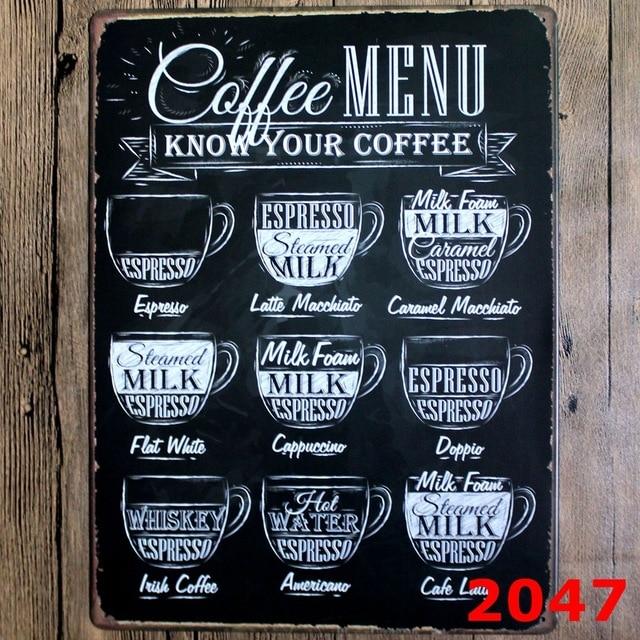 Coffee Shop Decor Wall Sticker Large Metal Painting Coffee Menu Tin
