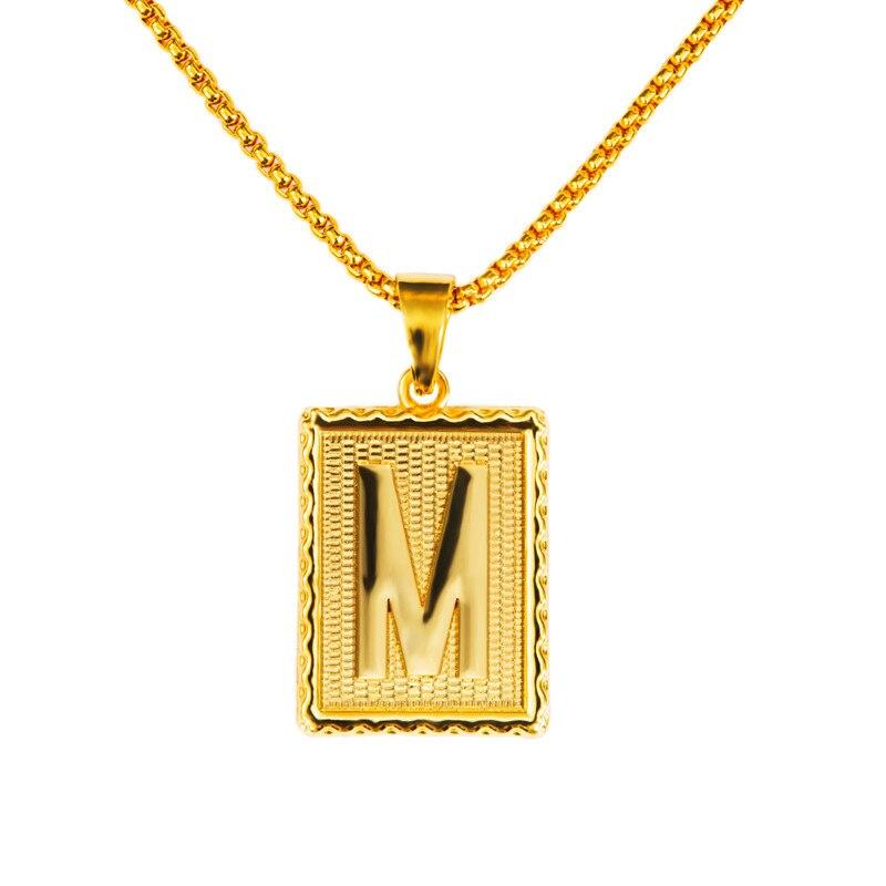 fashion m pendant necklace 18k gold plated hip hop