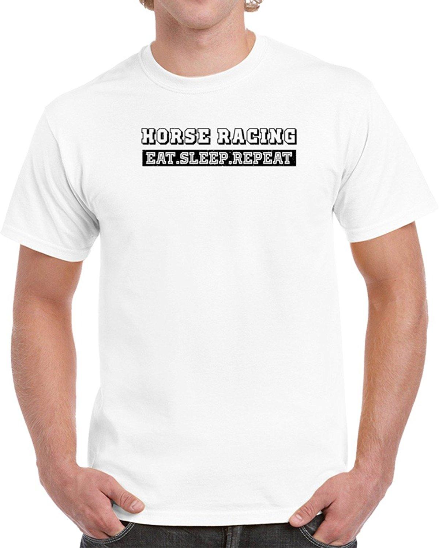 Horse Racinger Eat Sleep Repeat Funny Unisex Men Brand Clothihng Top Quality Fashion Mens T Shirtes 100%Cotton