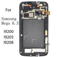 Lcd com quadro anz z para sumsung glaxy mega 6.3 GT I9200 i9205 tela monitores de toque painéis montagem lcd digitador