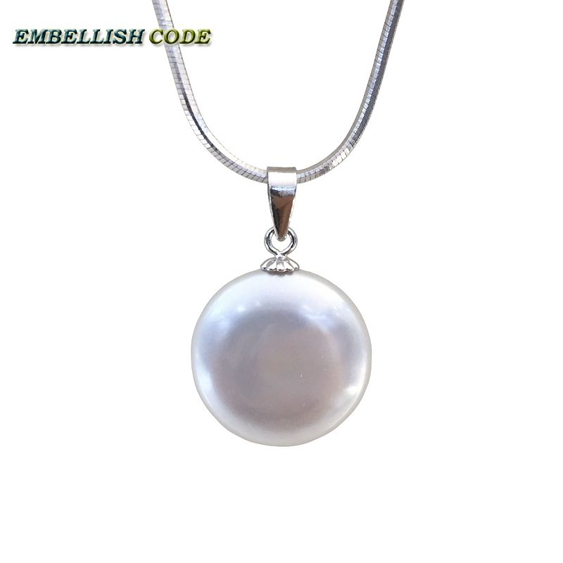 "hot 16 inch  18inch 20"" Simple round coin Button flat shape baroque pearl pendant necklace white snake chain 925 sterling silver"