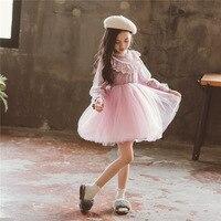 Fashion Kids Girls Dresses Size 3 4 5 6 7 8 9 10 Y Long Sleeve New Lace Mesh Party Princess Dress Children Autumn Clothes 49L2