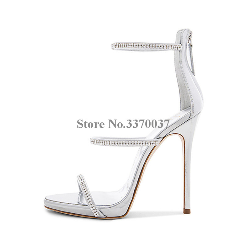 Women Charming Open Toe Rhinestones Straps High Heel Sandals Cut-out Crystal Back Zipper-up Sandals Formal Dress ShoesWomen Charming Open Toe Rhinestones Straps High Heel Sandals Cut-out Crystal Back Zipper-up Sandals Formal Dress Shoes