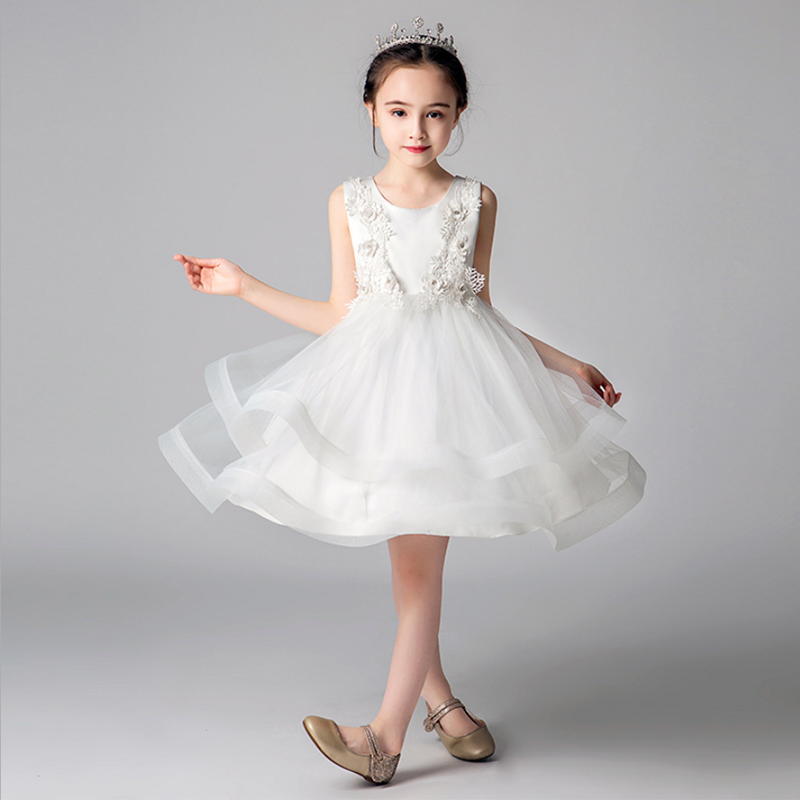 it's YiiYa   Flower     Girl     Dress   for Wedding Applique Tulle Ball Gown Kid Party Communion   Dress   O-neck 4 Colors 3-8 year 2019 A01