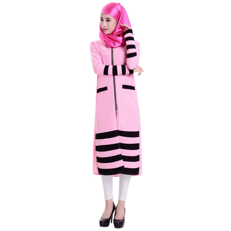 Kaftan Abaya Jilbab Islamic Muslim Cocktail Women Long Sleeve Striped Zipper Dress Knitting Yarn Four Light Colors
