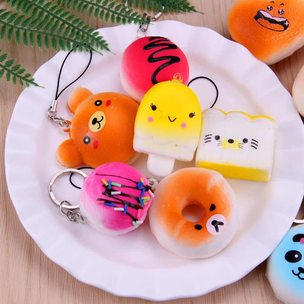 Besegad 10 шт./лот TPR Kawaii Большой Слон Panda хлеб мороженое торт булочки кулон мягкими замедлить рост игрушка снимает стресс беспокойство