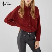 Artsnie outono 2018 vinho vermelho veludo blusa mulher streetwear turn down colarinho manga comprida bolsos topos camisa feminina menina blusas