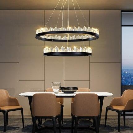 Modern LED Chandeliers lustre Crystal Chandelier Luxurious Circular Iceberg Crystal Chandelier Lighting Pendant Lights     - title=