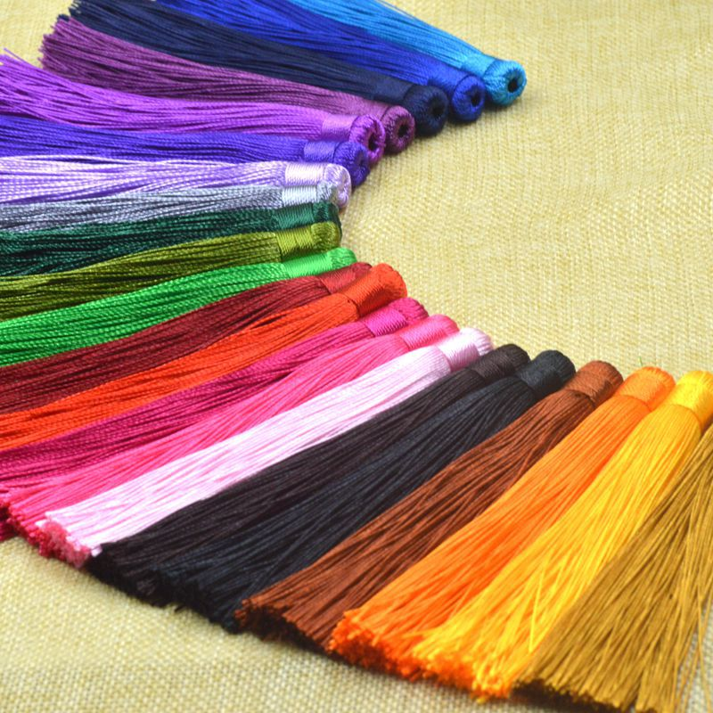 ACLOVEX 10pcs 12cm Polyester Silk Tassel Earrings Charms Chinese Knot Cotton Tassels For Diy Jewelry Making Findings Borlas Piel
