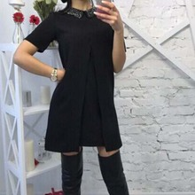 Uncinba 2017 Summer Hot Sale Solid Women Dress Short Sleeve Turn-Down Casual Style Female Above Knee Straight Mini Dresses