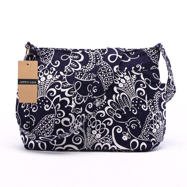 Women Crossbody Bag Vintage Large Capacity Shoulder Bag Multi-pocket Cotton Messenger Bag Hobo for Ladies 4