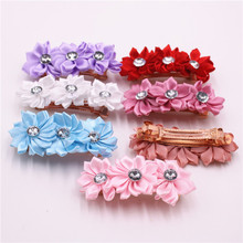 Beautiful Chiffon Flowers Girls Hair Clip Band Hairpins Kids Rhinestone Barrettes Fashion Gift Hair Accessories