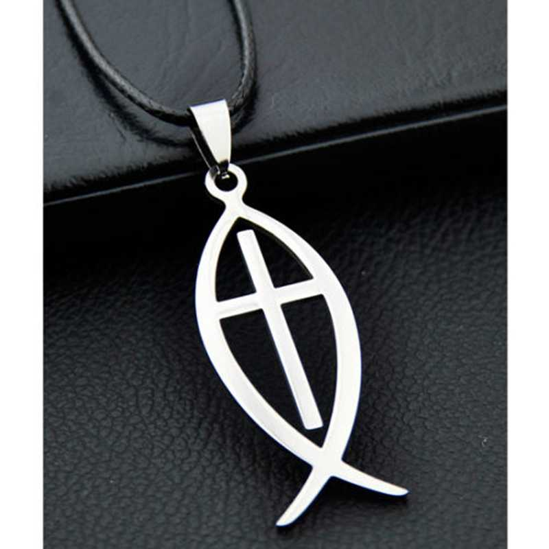 Jesus Fish Pendant Stainless Steel Necklace Ichthys Jesus cross pendant necklace ST03