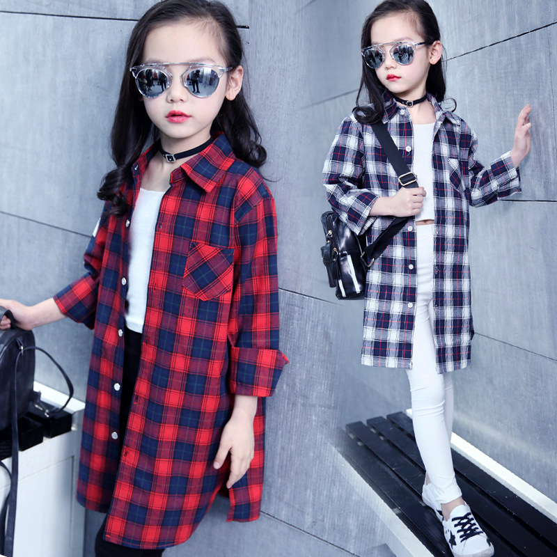 Teenage School Style Girls Blouse Shirts Children 4-14 Y Kids Clothes Girls Red Plaid Letter Shirt Dress