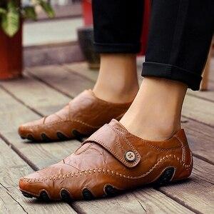 Image 5 - JKPUDUN el yapımı hakiki deri erkek ayakkabısı lüks marka İtalyan rahat erkek loaferlar nefes sürüş ayakkabısı üzerinde kayma mokasen