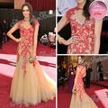 85a Oscar vestido de Red Carpet Louise Roe joya línea longitud del piso con apliques de tul Celebrity vestidos