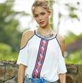 2016 Summer Style Halter Neck Shirts Elegant Women Blusas Sexy Off Shoulder Blouses Casual Slim Chiffon Tops White Shirt