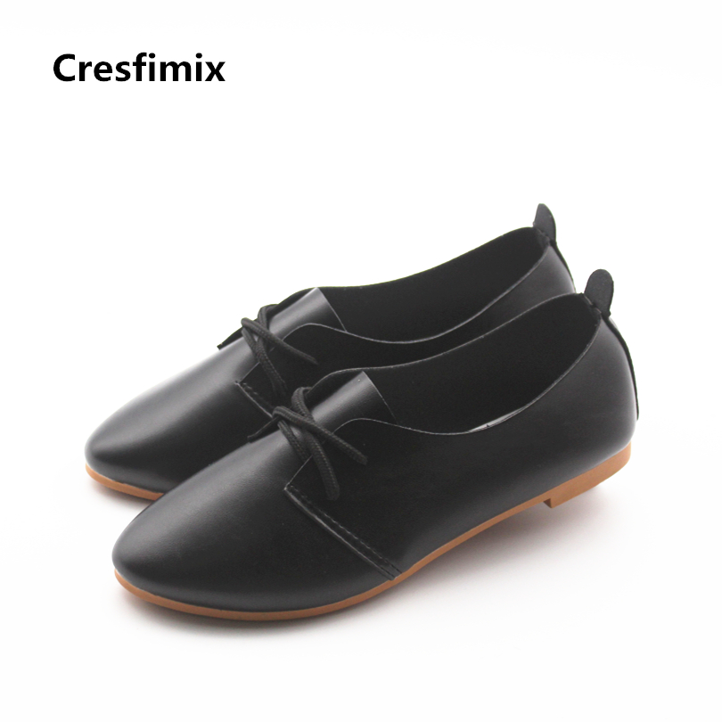 Cresfimix women cute spring summer lace up flat shoes female soft pu leather pointed toe black shoes zapatos de mujer cute shoes cresfimix women cute spring