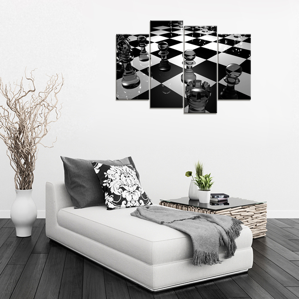 Black And White Wall Art 3D Chess Board Picture Canvas Home ...