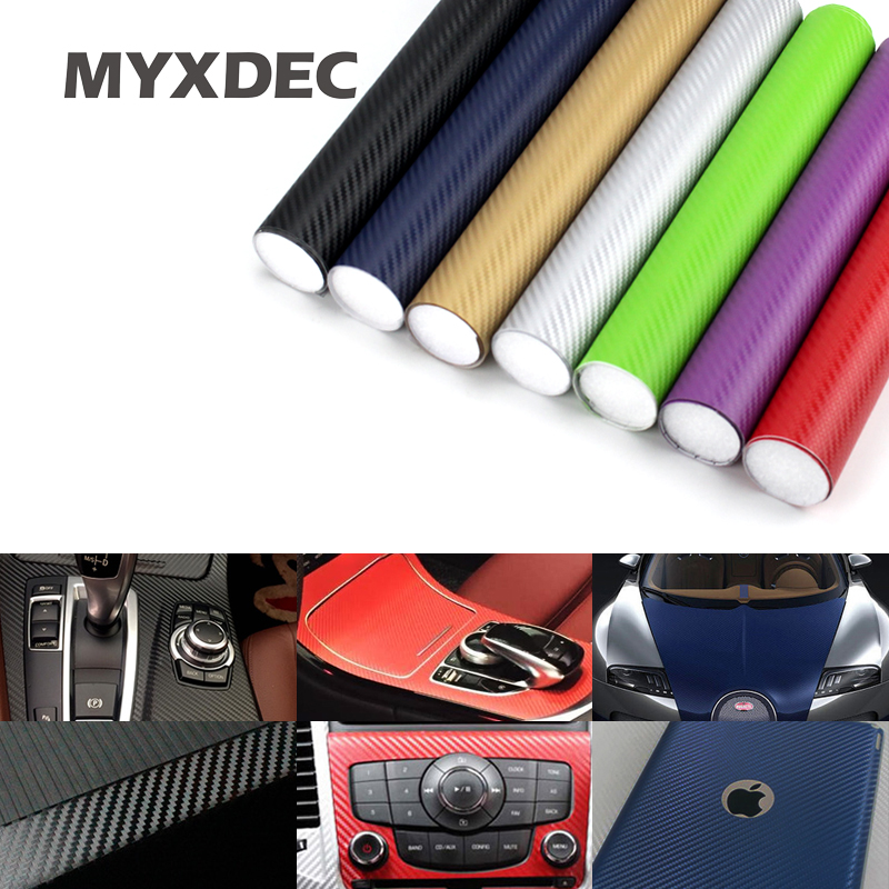 127*30CM 3D Carbon Fiber Vinyl Car Wrapping Foil Carbon Fiber Car Decoration Internal Sticker Many Color Option DIY Car Styling