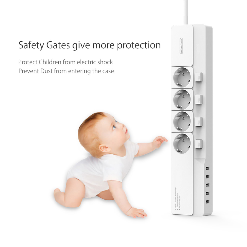 NTONPOWER EU Plug USB Power Socket Surge Protection (21)