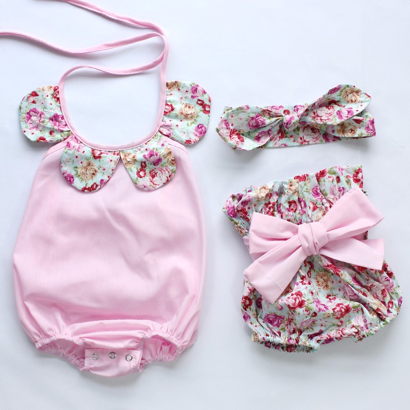 HTB15LYhMpXXXXXwXFXXq6xXFXXXc - 2015New arrival baby toddler summer boutiques baby girls vintage floral ruffle neck romper cloth with bow knot shorts headband