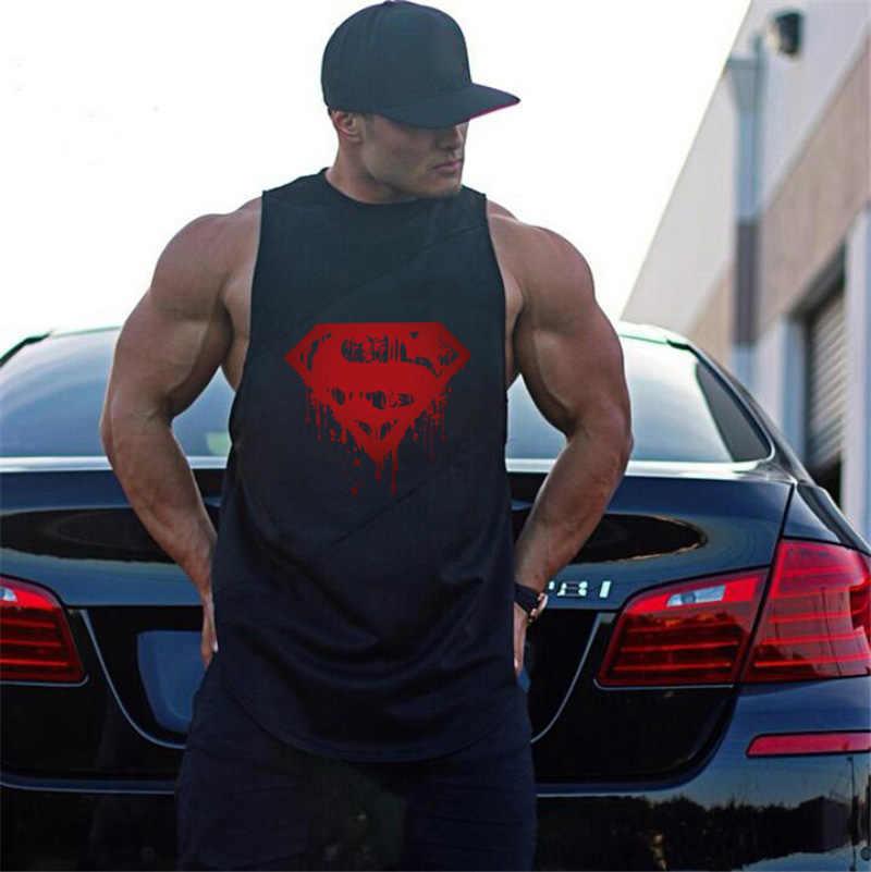 Мужская быстросохнущая майка с Суперменом, майка для бега, Мужская Нижняя майка без рукавов для фитнеса, мужские спортивные майки, свободный спортивный жилет, большие размеры