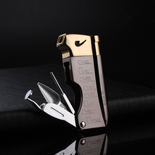 Butane Jet Lighter Cigar Lighter With Pipe Tool Pipe Rod Lighter Gas Compact Men Cigarette Gift Package все цены