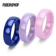 Fashion Wide 6mm Pink Blue Purple color Ceramic Rings Space Colorful Ceramic Women Ring Simple Tail Ring For Men Women Wholesale(China)