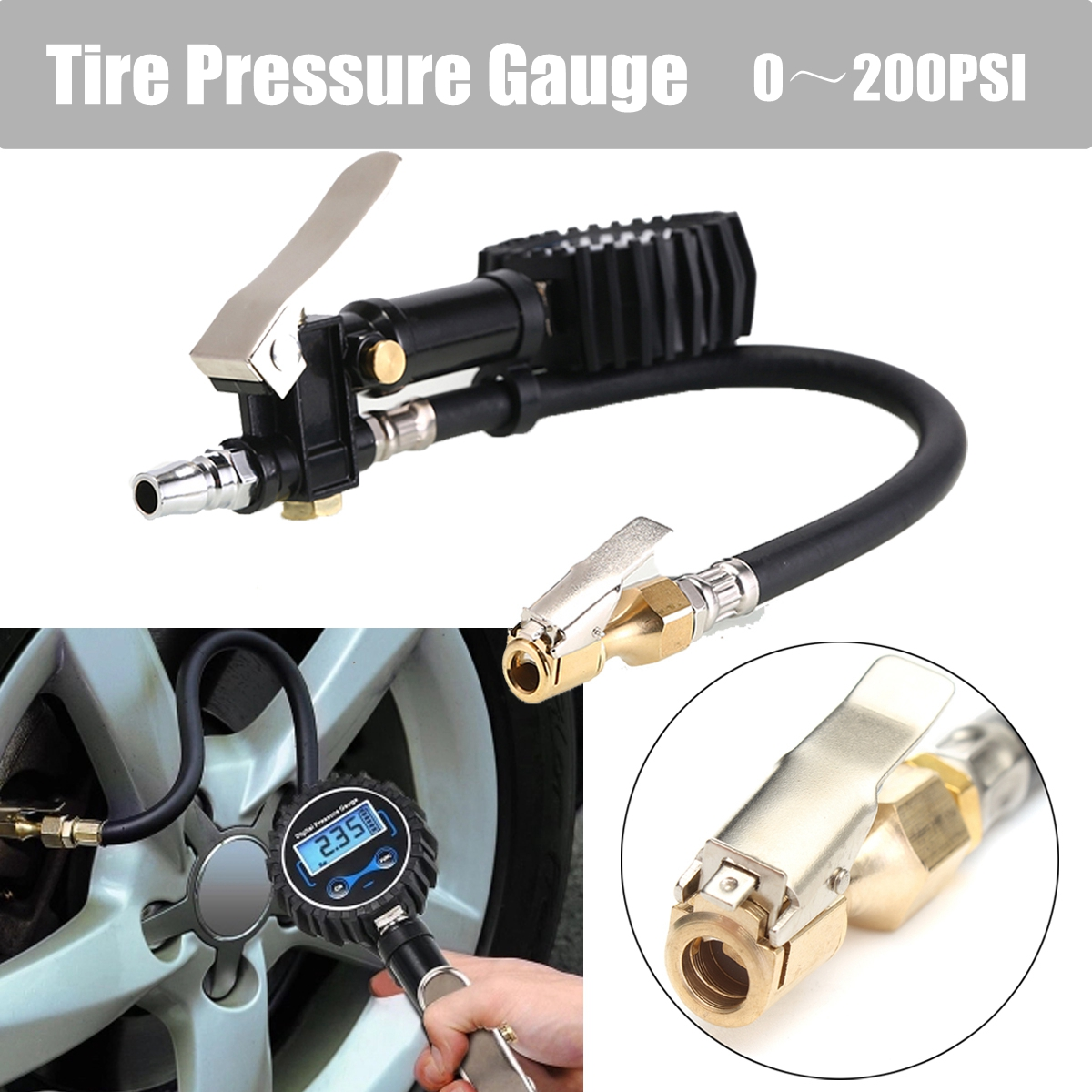Digital Car Truck Tyre Inflation for Guns Monitoring Tool Air Tire Pressure Inflator Gauge LCD Display Dial Meter Vehicle Tester 2016 new hot universal auto motor car truck bike tyre tire air pressure gauge dial meter vehicle tester free shipping