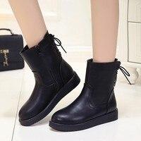Tuyết Boots Nữ 2017 Mùa Đông Mắt Cá Chân Ladies Nêm Nền Tảng Giày Trở Lại Lace up Flat Boots Mujer Botas Mujer Zapatos