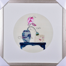 Soft Frame Suzhou 1-4 silk embroidery finished product pure handmade blue and white porcelain