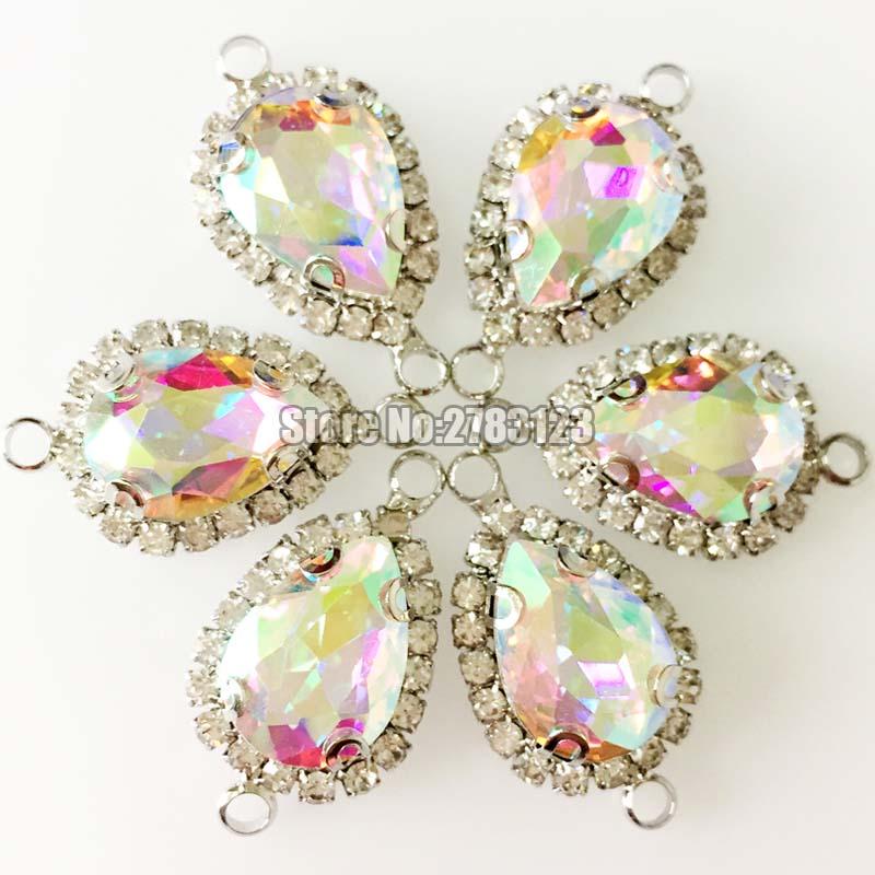 Бесплатная доставка, цветная Серебряная кнопка с кристаллом, высокое качество, AAA стекло, двойная петля, пришивные стразы с когтями