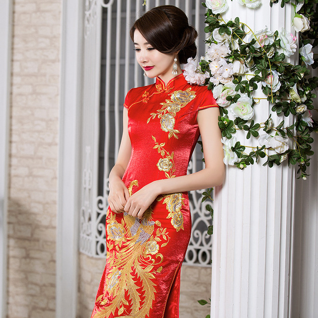 Traditions Red Lace Oriental Cheongsam Wedding Dress Formal Long Chinese Dresses Peacock Style Beautiful