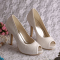 Wedopus Супер Качество Peep Toe Белый Кот Кружева Свадебная Обувь Женщины На Каблуках Челнока