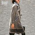 American style luxury grey shorn sheepskin sheep shearling long coats thick wool fur trench coat for winter manteau femme LT1066