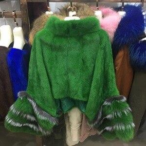 Image 2 - fashion luxury women genuine full pelt mink fur poncho with fox fur cuff 100% real fur high collar pullover shawls and wrap coat