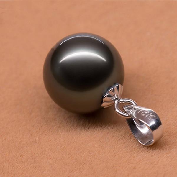 10-11mm véritable collier pendentif perle de tahiti noire naturelle avec chaîne en or massif blanc 14 K et Bail - 2