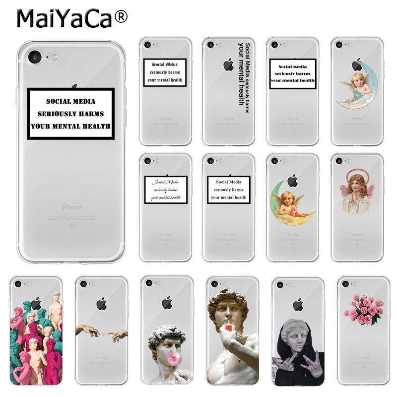 MaiYaCa Social Media Plaster Sculpture David Little Angels TPU Soft Phone Case For IPhone