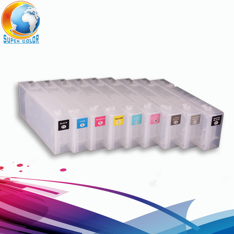 160ml 9 pieces/ lot For EPSON Surecolor P800 Refillable Ink Cartridge with ARC chips 11color refillable ink cartridge empty 4910 inkjet cartridges for epson 4910 large format printer with arc chips on high quality