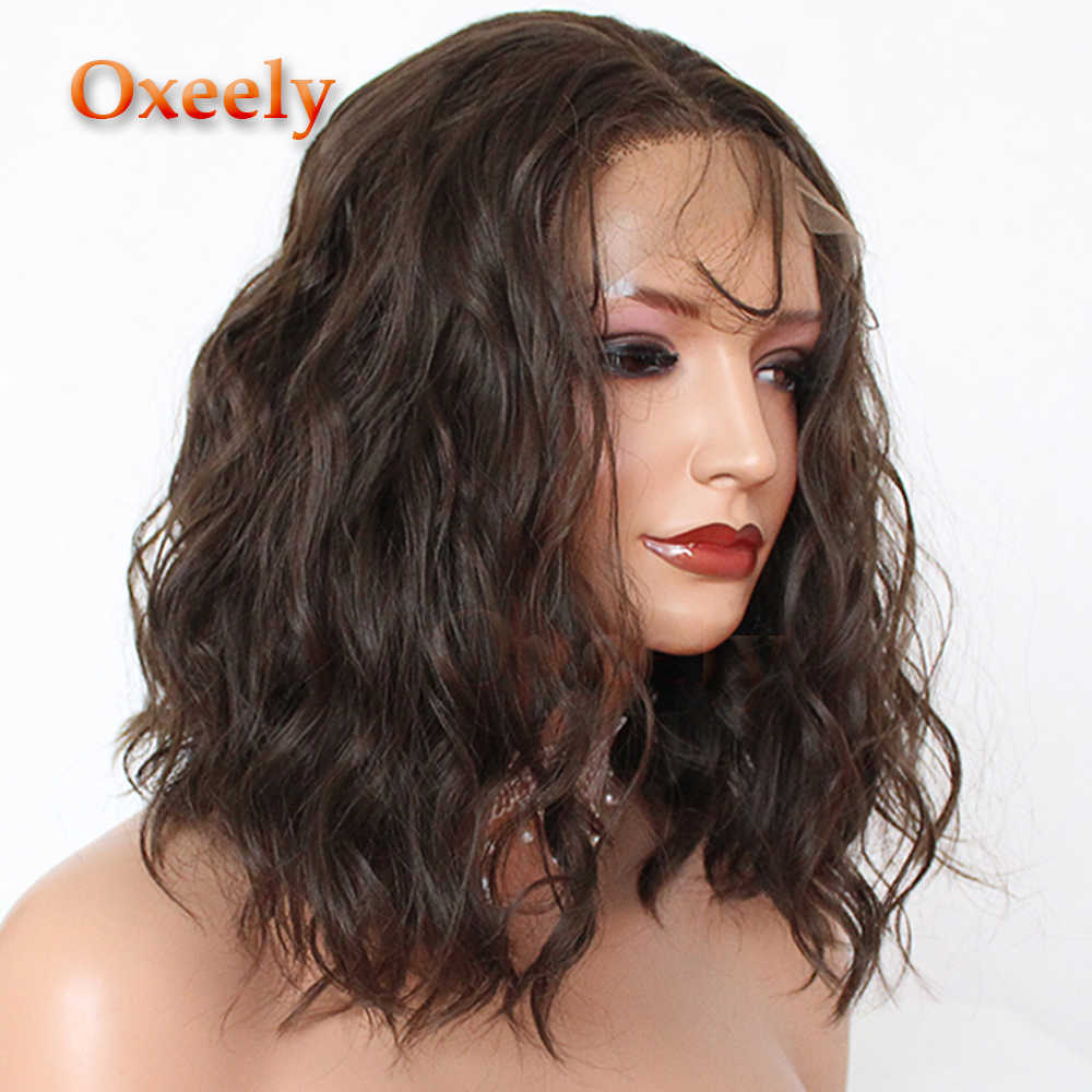 Oxeely Korte Bob Pruik Voor Vrouwen Lijmloze Bruin Krullend Bob Synthetische Lace Front Pruiken Hittebestendige #8 Korte Losse krullen Vezel Haar