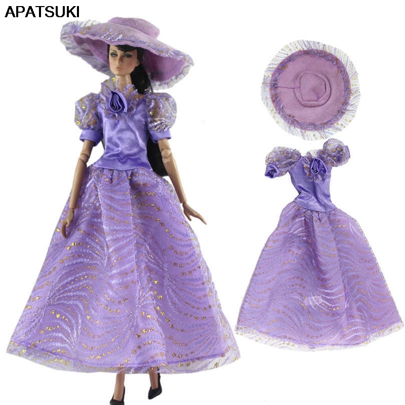 Purple Vintage 1/6 Doll Clothes For Barbie Doll Dress Princess Gown Party Dress & Hat For Barbie Doll Outfits 1:6 Doll Toy