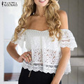 ZANZEA Fashion 2017 Summer Womens Lace Shirts Short Sleeve Off Shoulder Slash Neck Blouses Sexy Blusas Femininos Plus Size S-3XL